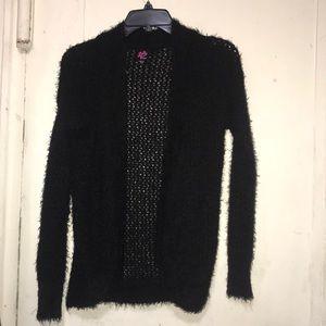 Bebe black fuzzy cardigan